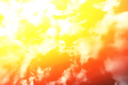 Fiery color sky and sun in clouds. Concept. View from below.