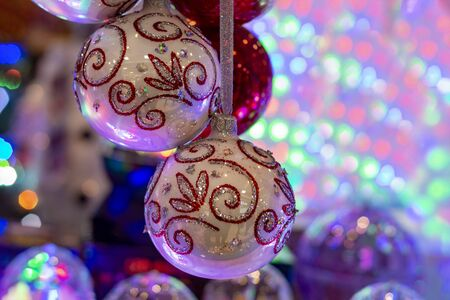 New Year decoration and Holiday event. Balls white.