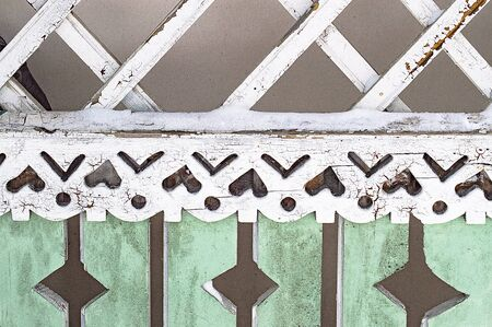Fragment of ornament of veranda of old wooden house. Close up. Stok Fotoğraf