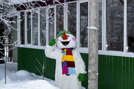 A snowman in a costume near a wooden building. Cristmas.