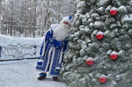Animator in Santa Claus costume near Christmas tree.
