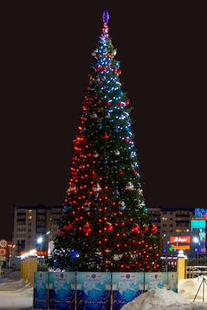 Christmas tree in winter. Surgut, Russia - 10 January, 2020
