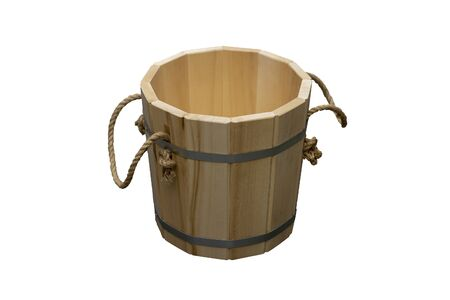 Wooden bucket with rope handles. Theyre going against a white background.