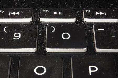 Dirty black keyboard. Notebook dirty all shape.