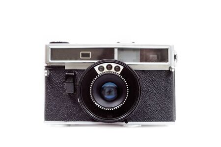 An old film camera on white background. Front view. Isolate. Stok Fotoğraf
