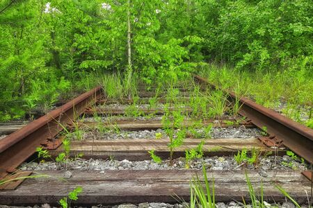 Vintage railroad route and old rails Stok Fotoğraf