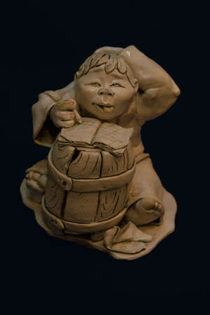 Clay man figure. Front view