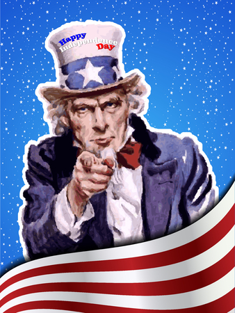 holiday celebrations: Uncle Sams wih. US independence day vector Illustration