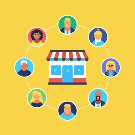 Online-Shopping, Eshop, Online-Verkauf, Online-Marketing, zufriedene Kunden. Flaches Design Modernes Vektorillustrationskonzept.