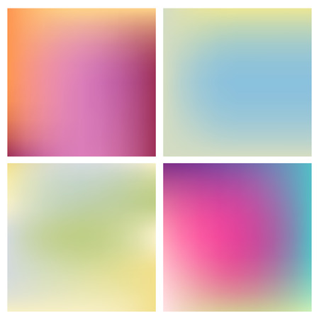 festive background: Set of four beautiful blurred backgrounds different warm and cold colors Illustration