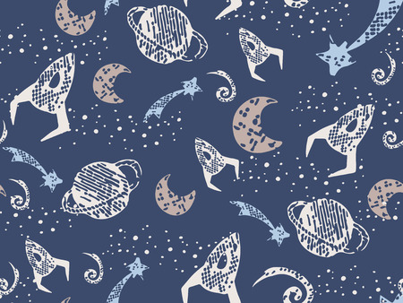for boys: Space wallpaper for boys endless pattern hand art to design wallpaper, wrapping paper, cards etc