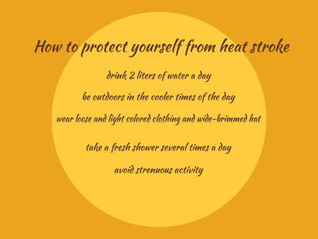 hot background: Slide with information how to protect yourself from heatstroke Illustration