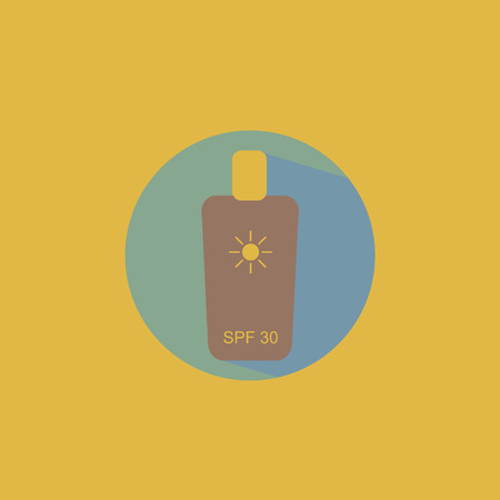 creme: Flat icon bottle with sunscreen creme for safe tan made with vintage colors