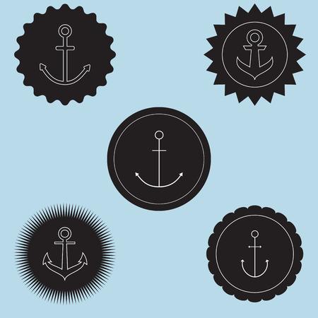 ahoy: Set of anchor logo. nautical theme.Sign of sailor club and nautical company.