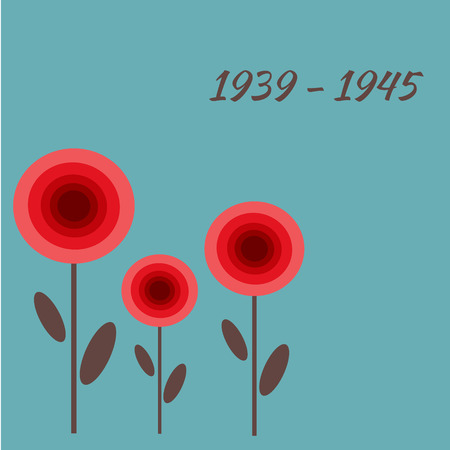 remembrance: Red poppy card. remembrance day.Second world war banner. Illustration