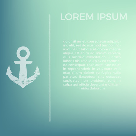 celadon: Template for business cards in marine style on soft blurred celadon background with anchor and rope in grunge style. Use for design brochure, presentation or busines card.