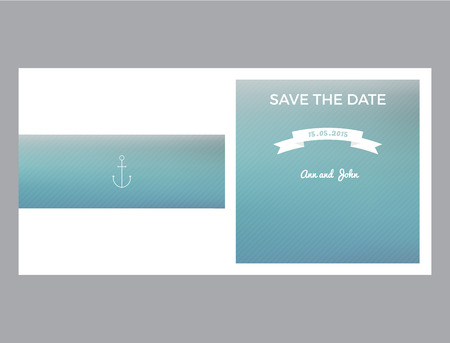 Save the date marine card with back and front side with transparent stripes Vector