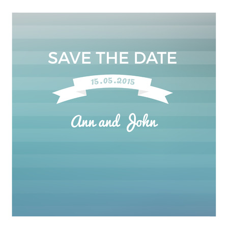 Save the date card in marine style  on blurred background with transparent horizontal stripes and vintage ribbon Illustration