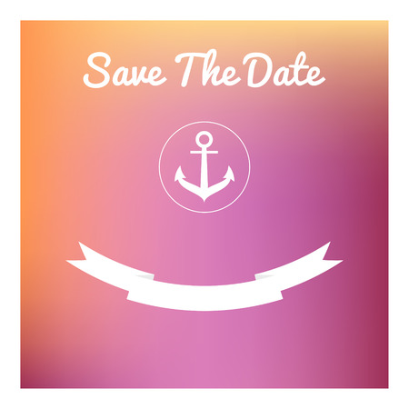 Save the date card in marine style  on blurred background. Use for wedding, baby shower invitation or whatever you want. Vector