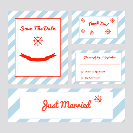 Set of wedding cards in marine style with stripes and modern nautical sign - helm.Save the date, thank you, rsvp, just married banner. Ideal for thematic party. Vector