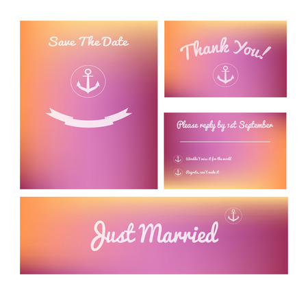 pleasant: Set of modern wedding cards on pleasant blurred pink background.Save the date, thank you, rsvp, just married banner. Ideal for thematic party.