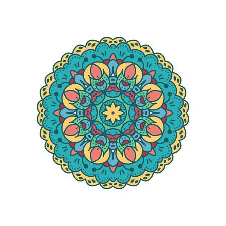 eastern culture: Mandala ornament with retro colors.Spiritual indian islam sign.Decorative element of eastern culture. Illustration