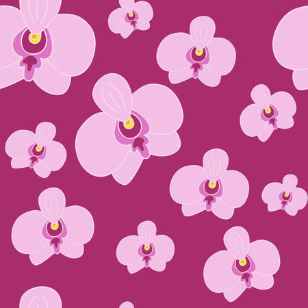 pink orchid: Floral seamless pattern. Pink orchid on dark pink  background. Hand drawn element.