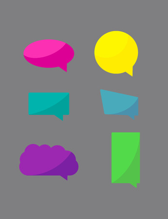 chat bubbles: Set of six colorful chat icons, speech bubbles Illustration