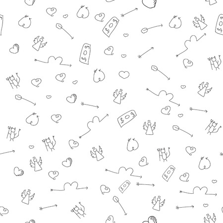 love of money: Hand drawn seamless pattern to use in design textiles, wallpaper, interior decoration, wrapping paper, greeting cards etc. Relations concept. Love, money, cupid arrow, angel, devil.