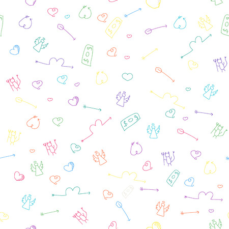 angel devil: Hand drawn seamless pattern to use in design textiles, wallpaper, interior decoration, wrapping paper, greeting cards etc. Relations concept.Love, money, cupid arrow, angel, devil. Illustration