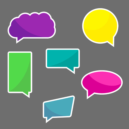 speach: Set of six colorful chat icons, speach bubbles with white stroke
