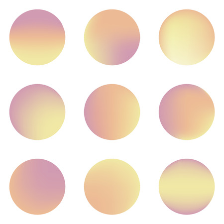 pleasant: Set of nine colorful circles with pleasant warm colors orange and yellow  with place for text