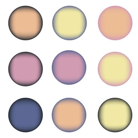 azul marino: Conjunto de nueve c�rculos de colores con lugar para el texto. Violeta, naranja, amarillo, colores azul azul, azul marino Vectores
