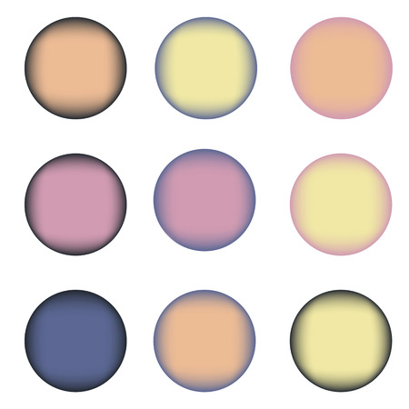 navy blue: Set of nine colorful circles with place for text. Violet, orange, yellow, blue, navy blue colors Illustration