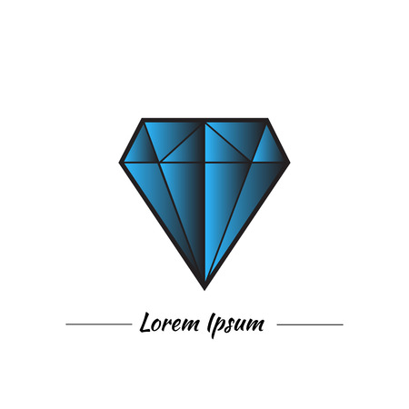 blue diamond: Blue diamond or topaz in graphic style. Nice blue color with gradient. Logo for jewelery company with place for text. Illustration