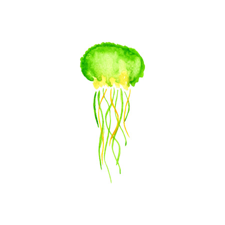 Watercolor green  jellyfish . Hand drawn element fir design. Ilustrace