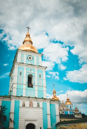 St. Michaels Golden-Domed Monastery in Kiev. View from the bottom. One of the most loved sights in the capital of Ukraine. Sky with dramatic clouds. Reklamní fotografie