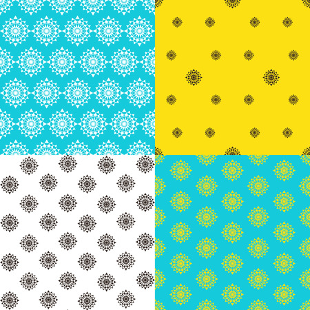 Set of colorful endless patterns.Template for design and decoration wallpaper, wrapping paper, cards etc Retro geometric elements. Ilustrace