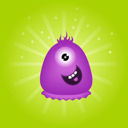 one eye: Cute violet monster with one eye on green background. cartoon character. Illustration