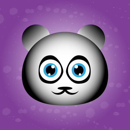 Cute panda muzzle on violet backgraound. cartoon character. pretty avatar. Funny animal. Ilustrace