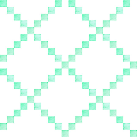 Hand drawn seamless watercolor pattern to use in design textiles, wallpaper, interior decoration, wrapping paper, greeting cards etc Geometric design.Bright turquoise color.