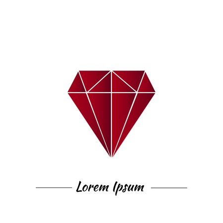 ruby: Red ruby in graphic style. Logo for jewelery company. Red or marsala modern color.Easy editible.Icon for your business.