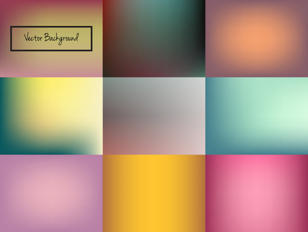 Set of nine abstract blurred colorful background. Unfocused style backdrop. Vector illustration.