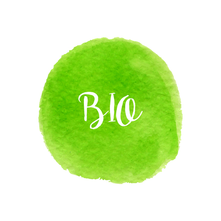 Green watercolor hand drawn circle with lettering. Bio design. Banner and stamp for eco design. Illustration