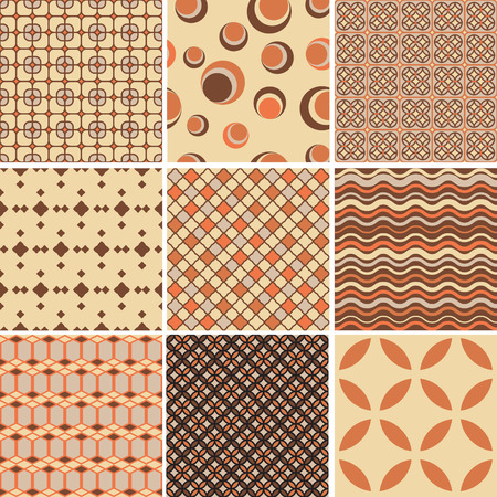Set of 9 seamless retro  patterns.Template for design and decoration wallpaper, wrapping paper, cards etc