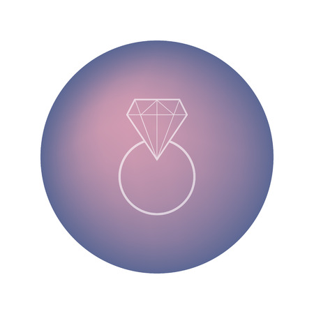 Wedding white pure ring with diamond on blurred violet round background. Graphic icon. Logo for jewelery company. Illustration