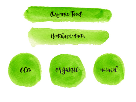 Set  of watercolor green banners and logo. Hand drawn painting with lettering. Template for modern design. Fresh green color. Illustration