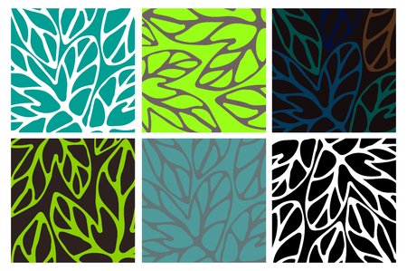 Set of six pattern. Hand drawn floral element.Template for design and decoration wallpaper, wrapping paper, cards etc.