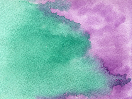 Hand drawn watercolor background with emerald green and fiolet colors. Hand painted colorful element for modern design.