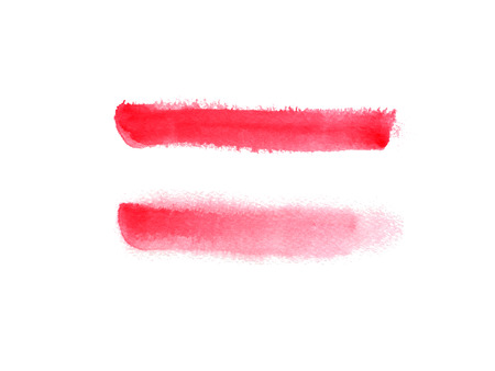 Hand drawn watercolor background with red stripes. Hand painted colorful element for modern design.